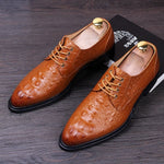 Movechain Men's Crocodile Pattern Dress Casual Shoes Man Genuine Leather Pointed Toe Oxfords Mens Lace-Up Business Flats