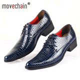 movechain Luxury Brand Designer Men's Fashion Snakeskin Grain Leather Pointed Toe Lace-Up Dress Wedding Shoes Mens Casual Flats
