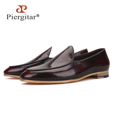 Piergitar 2019 New arrival Brown colors calfskin Men shoes Party and Wedding men dress shoes Handmade men loafers red bottom
