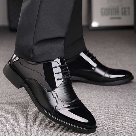 Business Luxury OXford Shoes Men Breathable PU Leather Shoes Rubber Formal Dress Shoes Male Office Party Wedding Shoes Mocassins - Men's Shoe Mall
