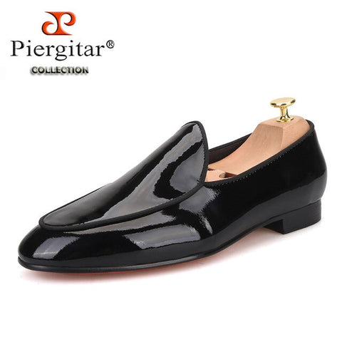 Piergitar 2019 New arrival Men black Patent Leather shoes Party and Wedding men dress shoes Handmade men loafers red bottom