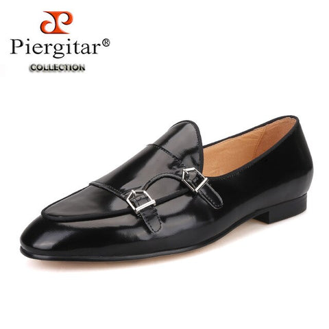Piergitar 2019 New black Genuine leather men handmade loafers with metal buckle Fashion Party and wedding men dress shoes