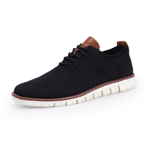 Merkmak Casual Knitted Mesh Men's Shoes Solid Shallow Lace Up Lightweight Soft Men Sneakers Shoes Breathable Man Footwear Flats - Men's Shoe Mall