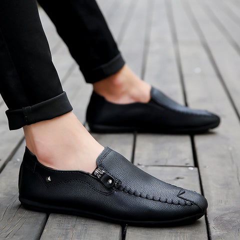 casual summer men shoes Mens solid Light Comfortable black Flat Shoes zipper Loafers leather Footwear sneakers mocassin homme - Men's Shoe Mall