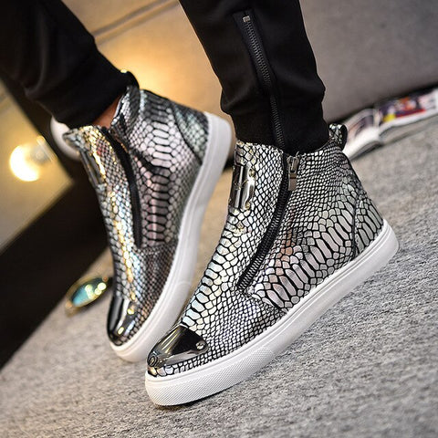 Mens Fashion Snake skin Grain Boots Zipper Casual Outdoor High-Top Shoes Man Metal Toe Boots Men's Slip-On Party Driving Boot