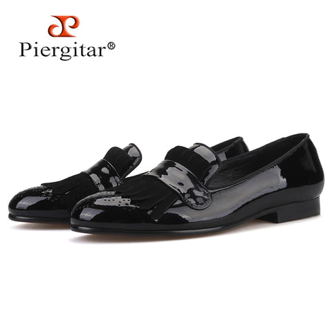 Piergitar 2019 new style Handmade Men Patent Leather shoes with Classical Brogue Printing and Suede Fringe Party men loafers