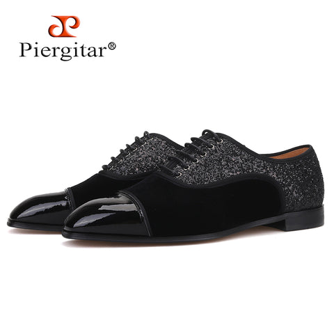 Piergitar 2019 New Splicing materials men shoes Handmade British style men's classic derby shoes men dress shoes red bottom