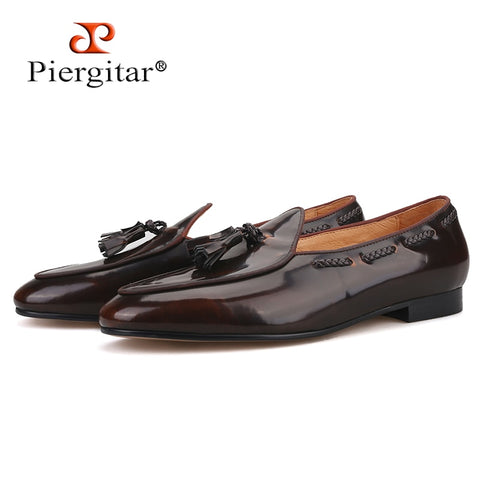 Piergitar 2019 dark brown hand-polished calfskin BELGIAN LOAFERS with matching tassels ITALY designs handcrafted men's loafers