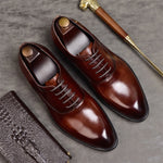 Phenkang mens formal shoes genuine leather oxford shoes for men italian 2019 dress shoes wedding shoes laces leather brogues - Men's Shoe Mall