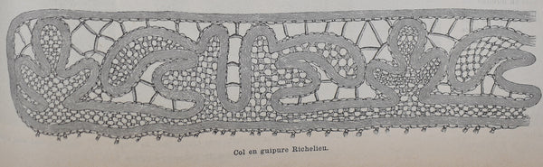 antique vintage french book illustration lace