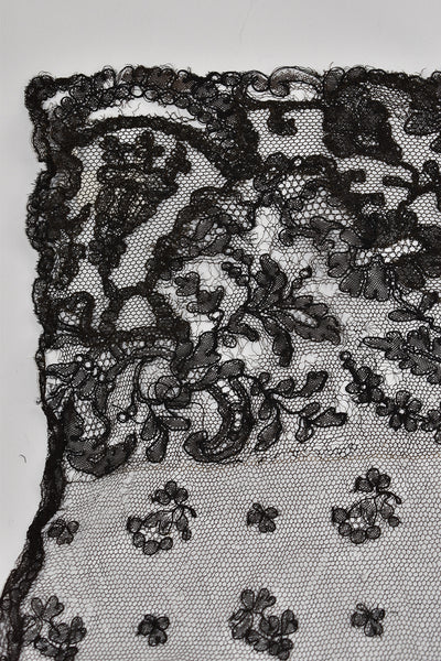 black handmade antique vintage french chantilly lace border