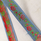 sky light blue ribbon coral pink daisy chain green leaves jacquard french