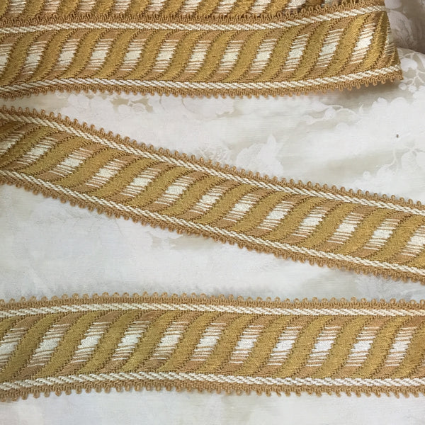 gold cream ivory white jacquard picot french antique trim passementerie ribbon