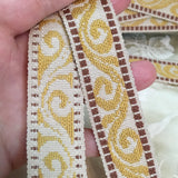 antique french renaissance tudor woven gold cream brown trim ribbon passementerie galon