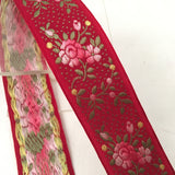 antique ruby red french jacquard pick ombre roses ribbon