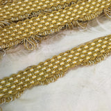 antique french picot trim gold cream basket weave tassels vintage passementerie