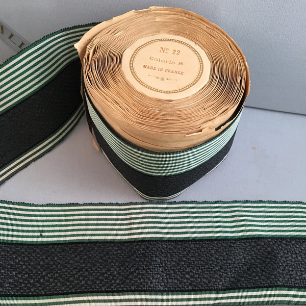 victorian green white striped grosgrain black raffia millinery ribbon