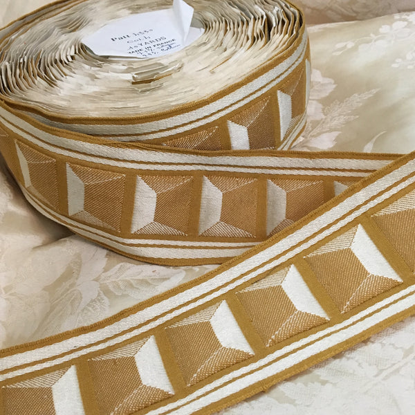 antique art deco geometric squares puffy trim ribbon lyon france mustard yellow gold white