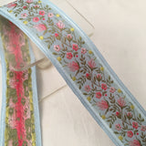 light sky blue antique vintage french jacquard ombre roses petite flowers ribbon