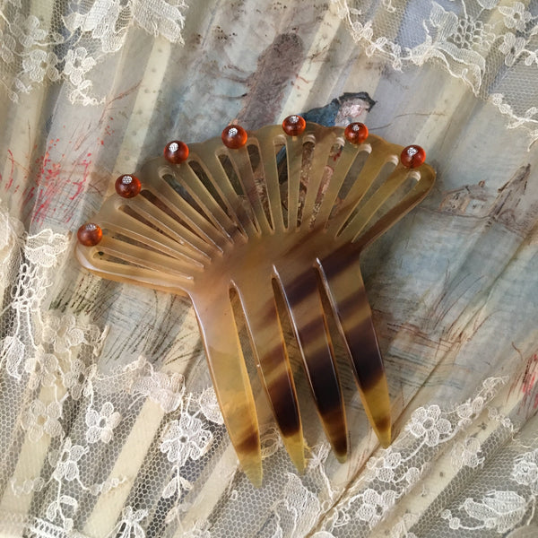 antique blonde horn hair comb victorian civil war