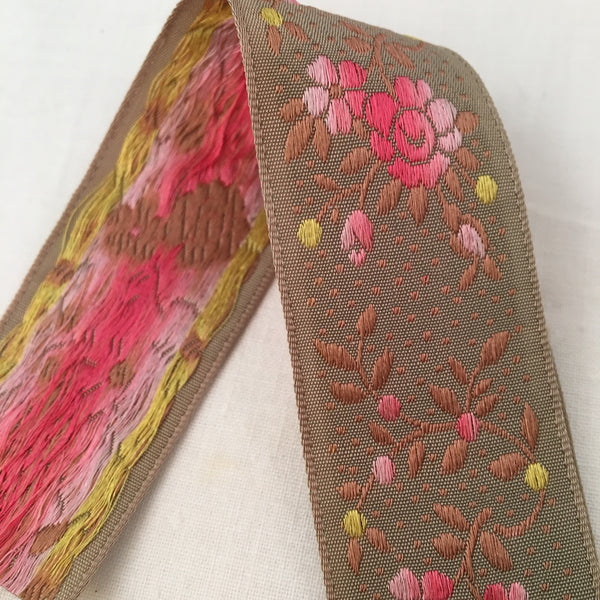 taupe putty dove grey rose pink jacquard ribbon vintage french