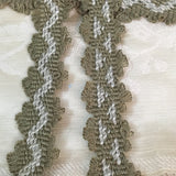 antique moss olive green dove grey zig zag picot trim