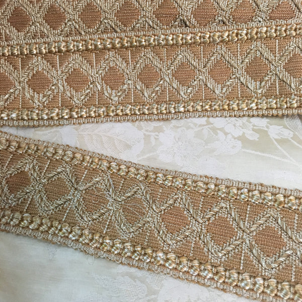 antique gold cream wide french trim diamond gimp motif regency victorian geometric