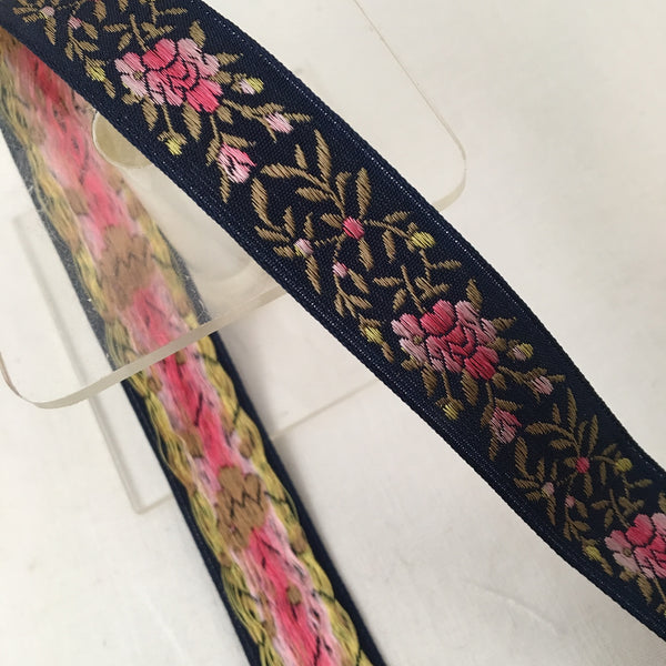 dark navy blue jacquard ribbon pink ombre roses vintage french