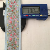 light sky blue antique vintage french jacquard ombre roses petite flowers ribbon width