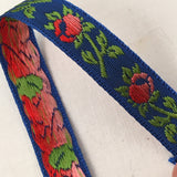 royal blue ribbon coral pink ombre roses french rayon vintage