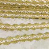 antique french grosgrain trim green gold cream zig zag picot vintage costuming ribbon
