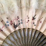 antique victorian edwardian chinese hand painted silk ostrich marabou feather court fan eventail swallows