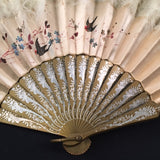 antique victorian edwardian chinese hand painted silk ostrich marabou feather court fan eventail gold sticks