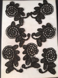 antique black glass bead french victorian passementerie mourning appliques