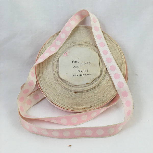 petal pink polka dot white ribbon france french vintage