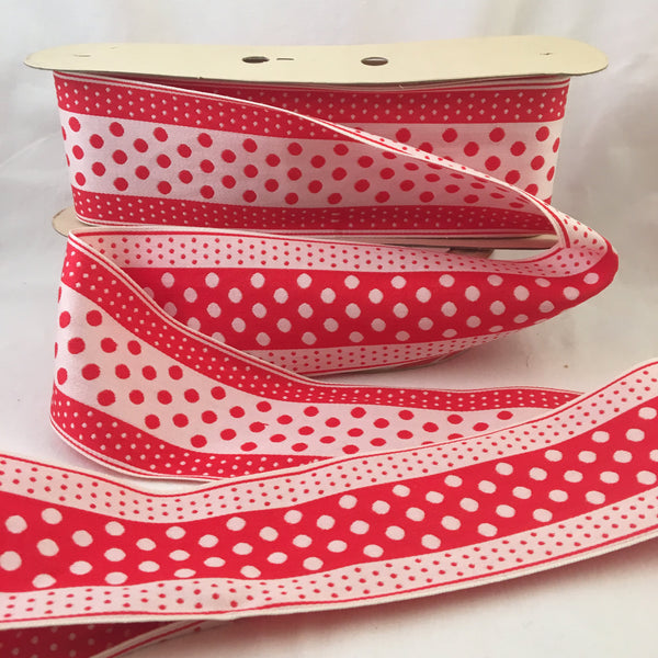 "Vintage FRENCH Red White 3"" Wide Tiny POLKA DOTS Rockabilly Ribbon Circus Clown Costuming Belt Cotton 1950s Pin Up Girl Stage Burlesque Hot"