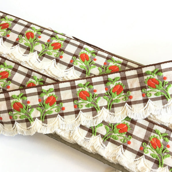 "Vintage White Brown Plaid Red Rose Swag Fringe Dirndl 1 5/8"" Trim Ribbon"