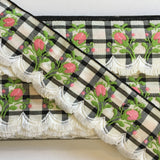 "Vintage White Black Plaid Pink Rose Swag Fringe Dirndl 1 5/8"" Trim Ribbon"