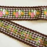 "Vintage Brown White Floral Gingham Dirndl 1 1/8"" Trim Ribbon"