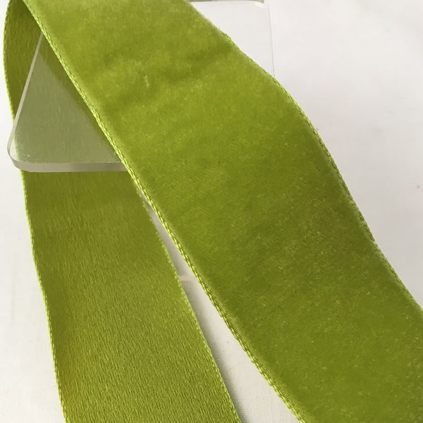 "Vintage Chartreuse Green 1 3/8"" Satin Backed Velvet Ribbon"