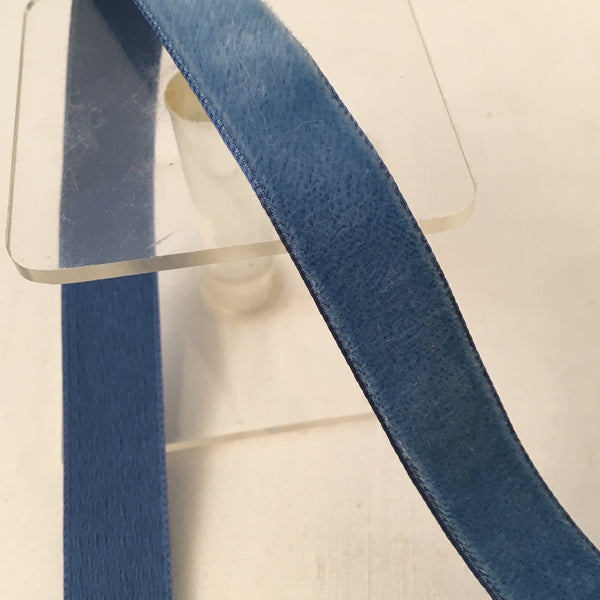 "Vintage French Blue 5/8"" Satin Backed Velvet Ribbon"