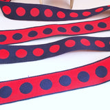 "FRENCH Navy Blue Red 1"" Large Polka Dot Ribbon Circus Clown Vintage Costuming Cotton 1940s Pin Up Girl Burlesque Showgirl"