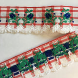 "Vintage White Red Plaid Blue Rose Swag Fringe Dirndl 1 5/8"" Trim Ribbon"