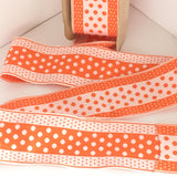 "Vintage FRENCH Orange White 3"" Wide Tiny POLKA DOTS Rockabilly Ribbon Circus Clown Costuming Belt Cotton 1950s Pin Up Girl Stage Burlesque Hot"