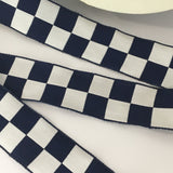 "Vintage 1.5"" French Navy Blue White Checked Gingham Jacquard"