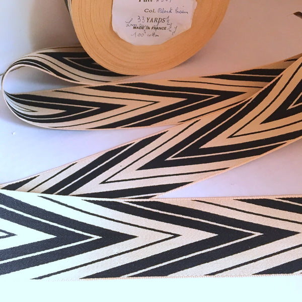 "Vintage FRENCH Black Off White 2"" Wide CHEVRON Va Va Voom Ribbon Circus Clown Costuming Belt Cotton 1950s Pin Up Girl Stage Burlesque"