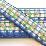 "Vintage Periwinkle Blue White Plaid Pink Rose Swag Fringe Dirndl 1 5/8"" Trim Ribbon"