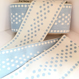 "FRENCH Light Sky Blue White 4.25"" EXTRA WIDE Large Polka Dot Ribbon Circus Clown Vintage Costuming Cotton 1940s Pin Up Girl Burlesque Showgirl"