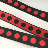 "FRENCH Black Red 5/8"" Large Polka Dot Ribbon Circus Clown Vintage Costuming Cotton 1940s Pin Up Girl Burlesque Showgirl"