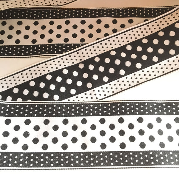 "Vintage FRENCH Black White 3"" Wide POLKA DOTS Rockabilly Ribbon Circus Clown Costuming Belt Cotton 1950s Pin Up Girl Stage Burlesque Hot"